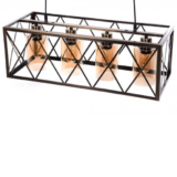 lampadario stile industriale a gabbia con paralumi in vetro ambra