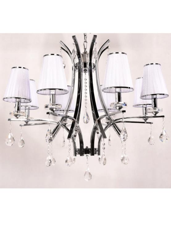 lampadario struttura cromata gocce cristallo glamour 8 luci