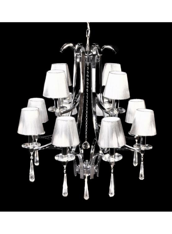 lampadario classico argento struttura cromata
