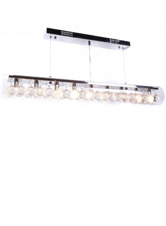 lampadario tubo vetro con cristalli