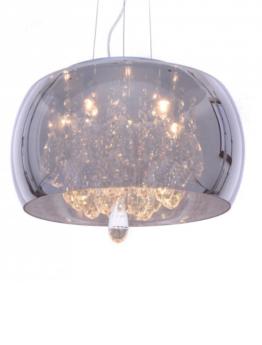 lampadario vetro cromato con cristalli