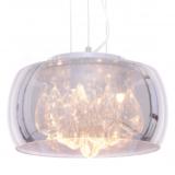 lampadario con paralume sferico diametro 30 cm vetro cromato e cristalli all'interno del parlaume