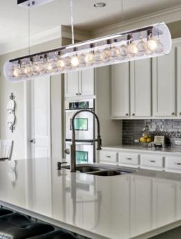 lampadario tubolare in vetro per cucina