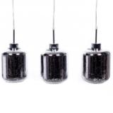 lampadario vetro moderno argento 3 luci