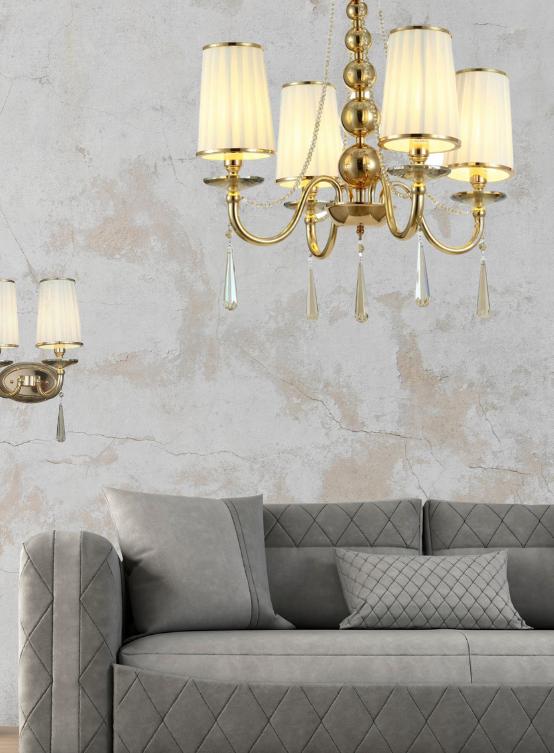 lampade a sospensione classiche oro 4 luci con applique abbinabili