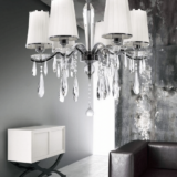 lampadario cristalli bianco in tessuto plissé 6 luci lampada di lusso