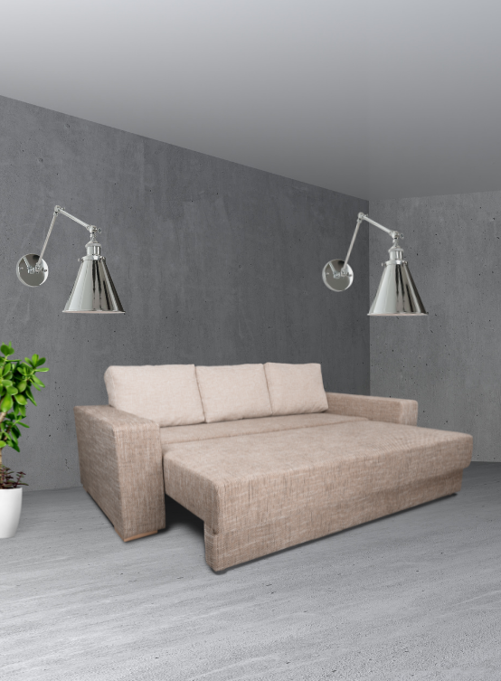 applique design moderno in metallo lucido con bracci regolabili