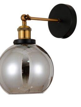 applique vintage industriale con braccio regolabile e paralume sferico