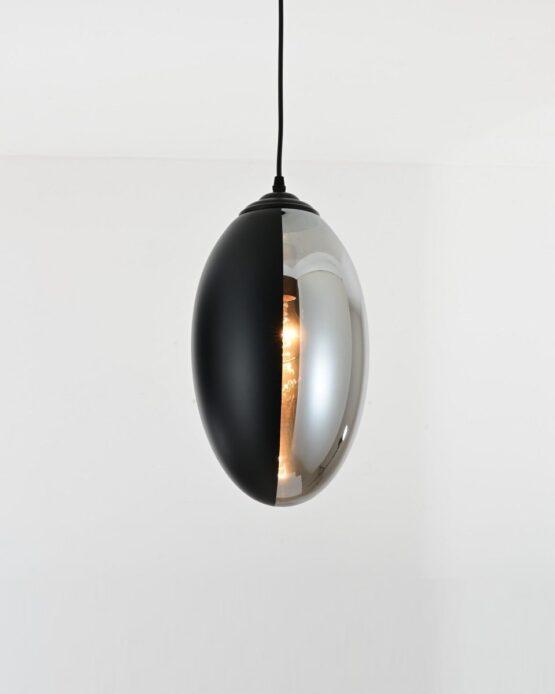 lampade a sospensione moderne di design con vetro nero e grigio fumo