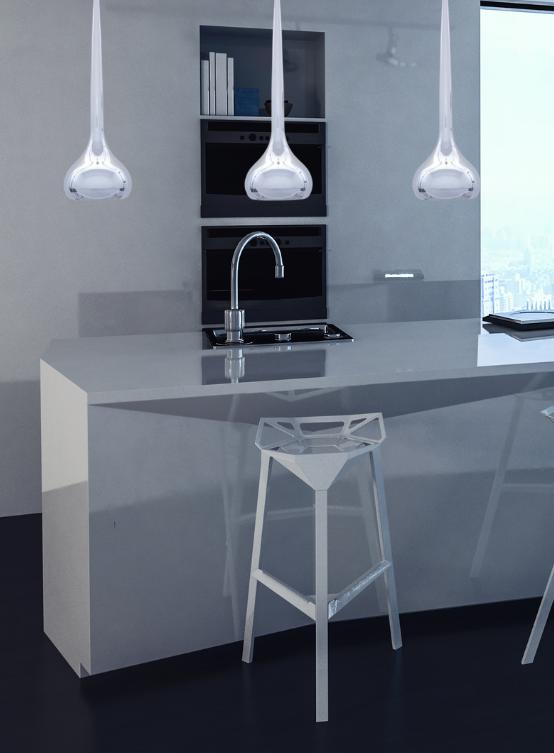 lampada moderna per cucina cromata