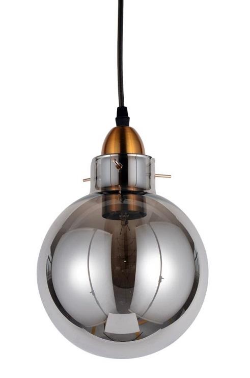 Lampada industriale grigio fumo e ottone