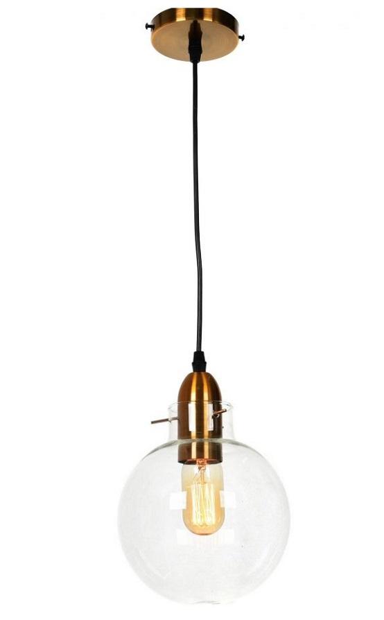 lampada industriale sfera vetro e ottone