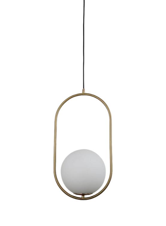 Lampada geometrica sfera vetro bianca