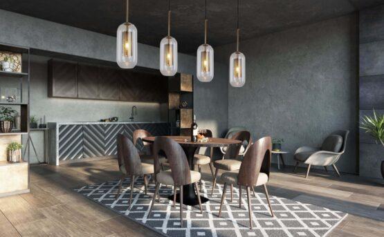 lampade salone vetro trasparente e ottone