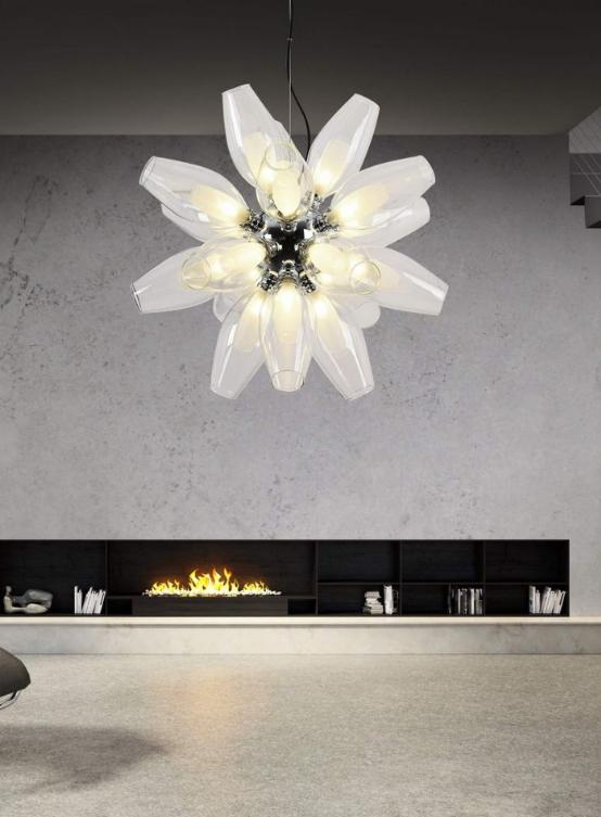 lampada metallo vetro forma fiore
