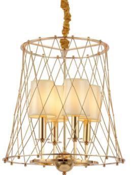 lampadario metallo dorato 4 luci