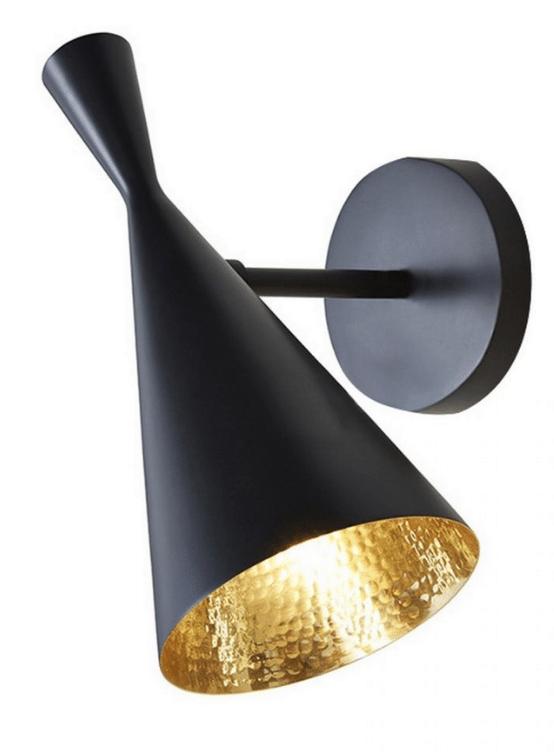 lampada a muro vintage a forma di imbuto in stile tom dixon colore nero