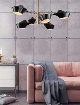 lampada soffitto vintage nera con struttura ottone