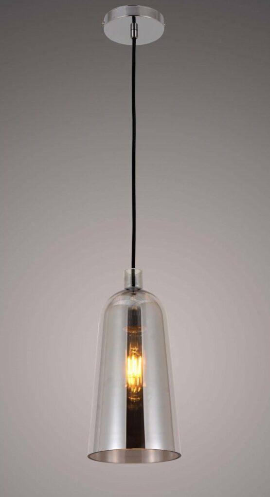 Lampada a sospensione cromata con attacco al soffitto cromato