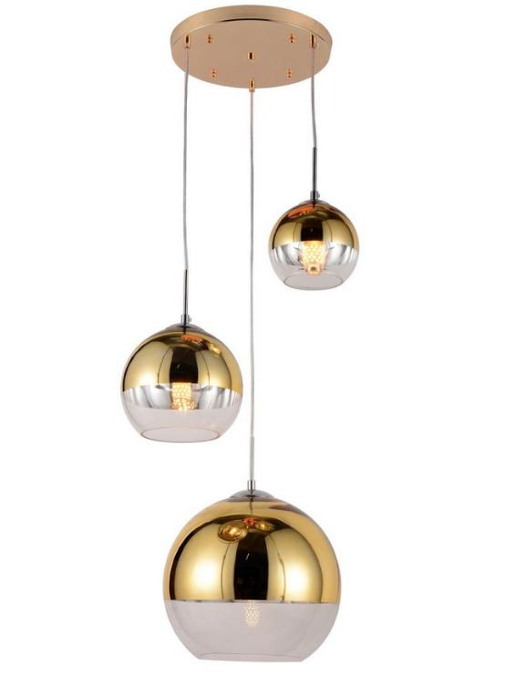 lampada oro tre luci a sfera