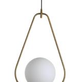 Lampada soffitto dorata sfera vetro a forma di triangolo