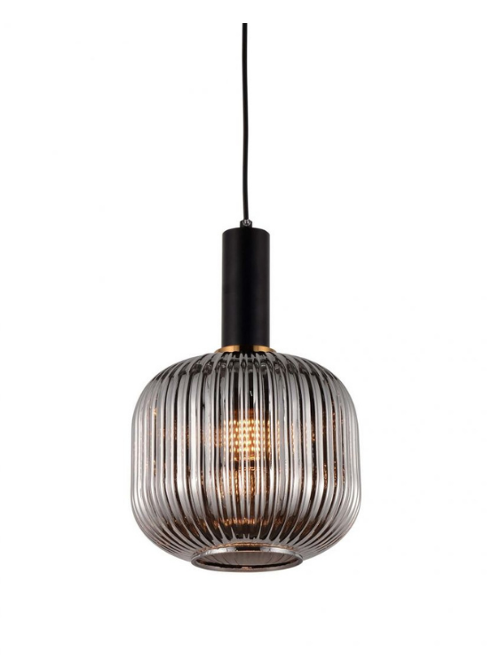 lampade a soffitto con paralume grigio fumo in vetro e decorazioni ottone