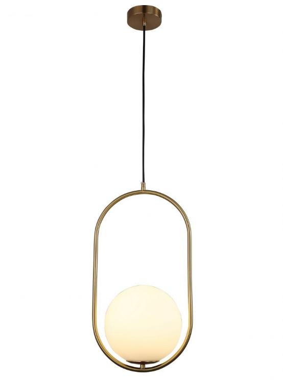 lampada soffitto struttura ovale in ottone oro sfera vetro bianca
