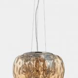 Lampada da soffitto cristalli e vetro ambrata con paralume 50 cm