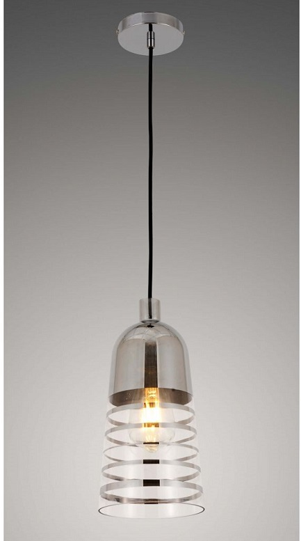 lampada sospensione due colori moderna cromata