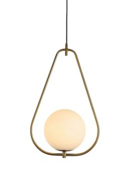 lampada sospensione minimal con sfera vetro bianco