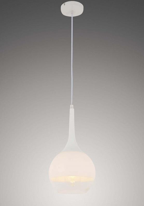 Lampada a sospensione moderna in vetro bianco a sfera