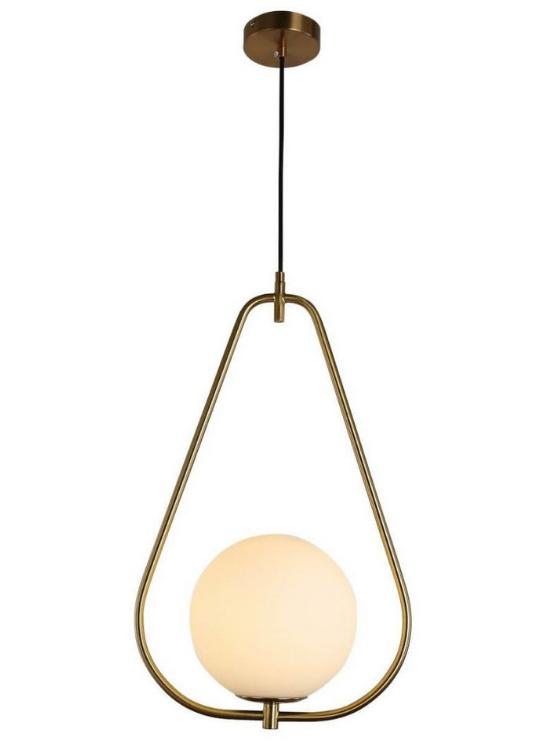 lampada sospensione sfera con triangolo dorato delta