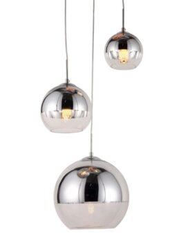lampade a sospensione tre luci trasparenti e argento in vetro