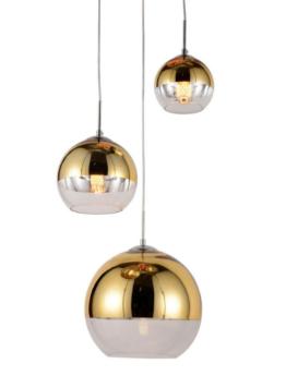 lampada sospensione tre luci sferiche color oro in vetro