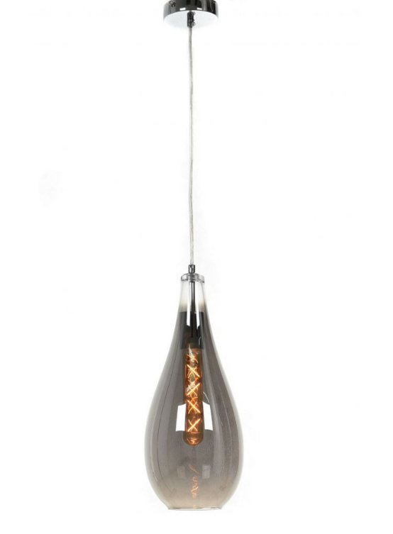 lampada moderna cromata a forma di goccia stile industrial