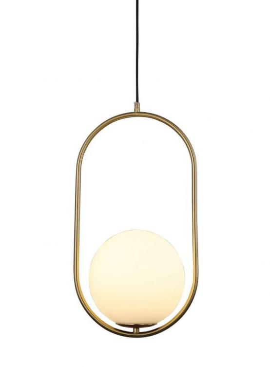 lampada a sospensione sfera vetro struttura ottone ovale