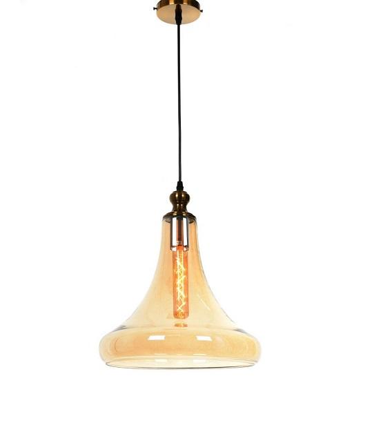 lampadari vintage industrial con vetro ambrato e porta lampada in ottone