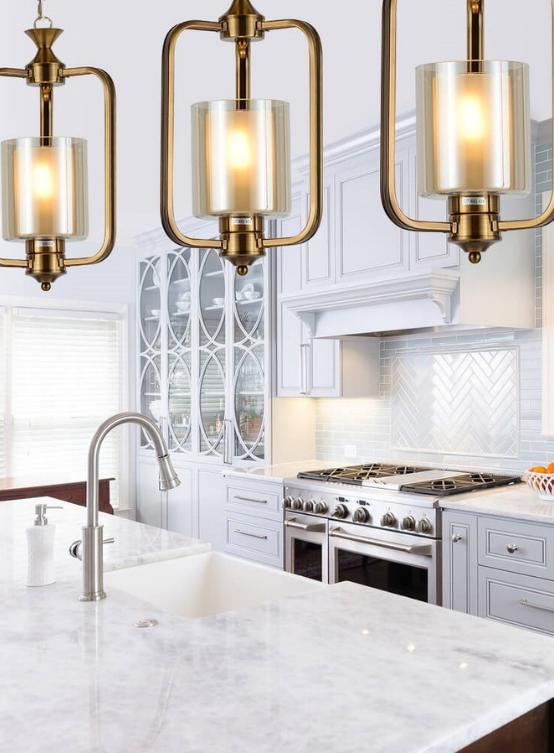lampadari ottone moderni per cucina
