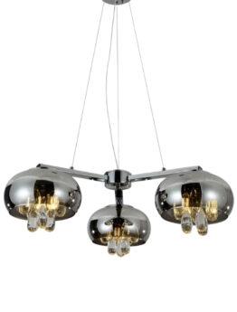 Lampadario 3 luci cromato con cristalli
