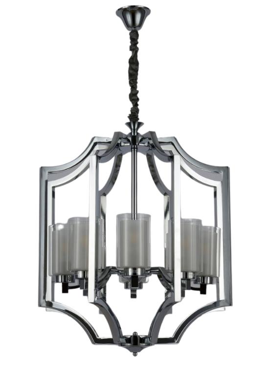 lampadario moderno struttura cromata con 8 luci