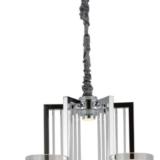 lampadario cromato con paralumi e faratti