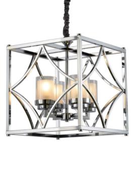 Lampadario a soffitto metallo cromato di forma quadrata
