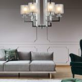 lampadario cromo a sospensione con 6 luci