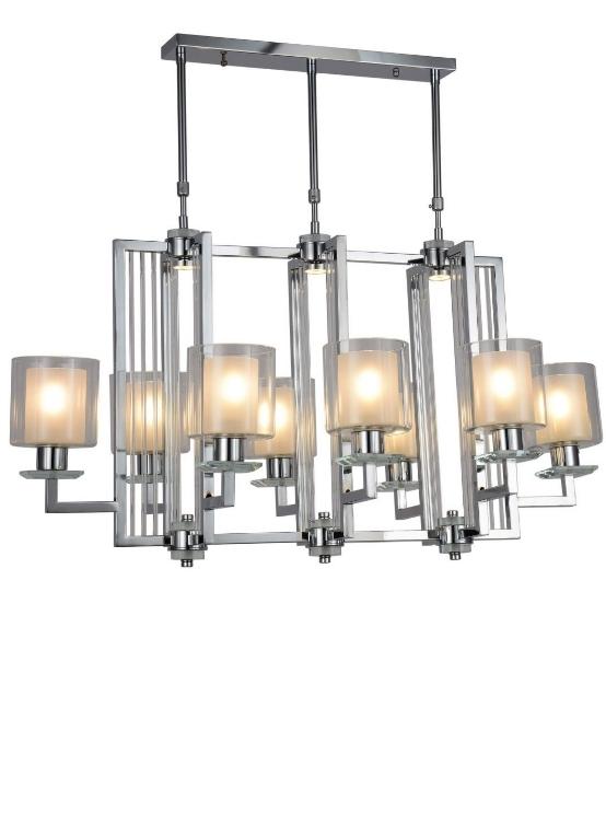 lampadario moderno cromato 8 luci struttura quadrata