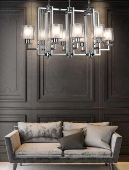 lampadario grande per salotto in metallo cromato