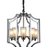 lampadario moderno in acciaio cromato con 8 luci con paralume in vetro