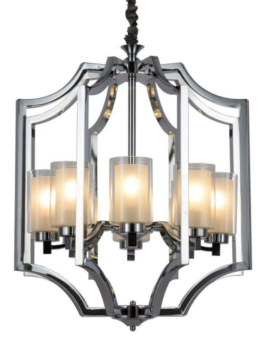 lampadario moderno acciaio cromato