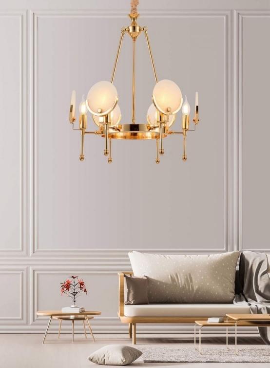 Lampadario oro di design moderno 6 luci