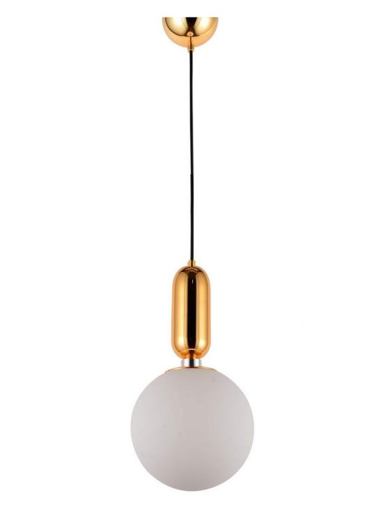 lampadario palla vetro satinato con decorazioni oro