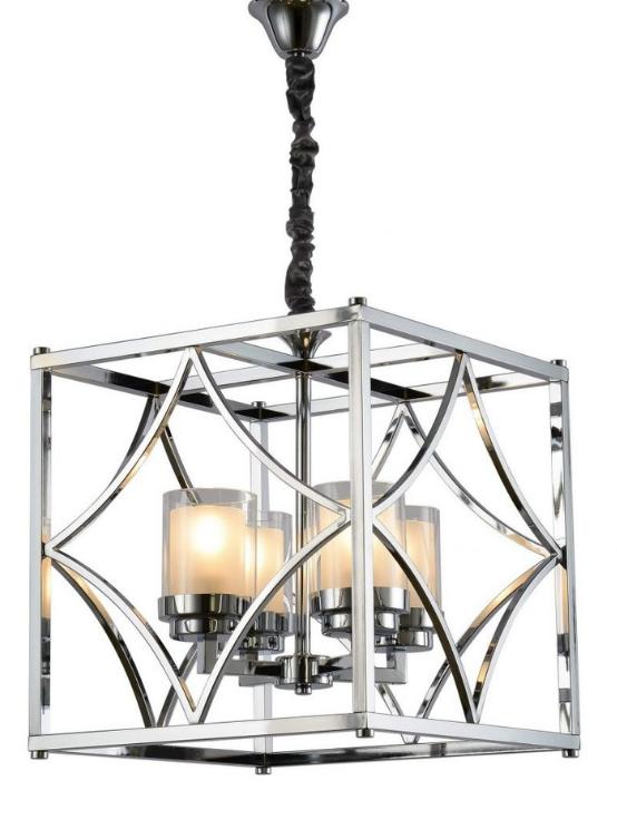 lampadario quadrato metallo cromato in stile moderno
